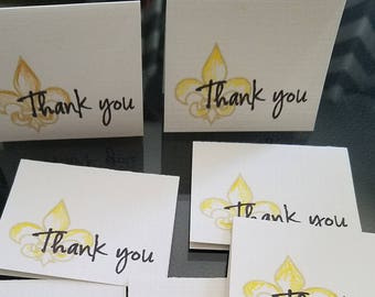 SALE 8 Mini Thank you cards hand stamped orders 2.5x2 purple button
