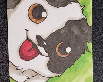 4x6 Artist Card Hand Drawn pokemon styles dog adorable face HandDrawn Original