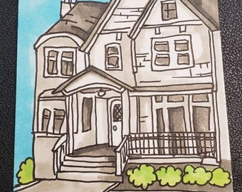 4x6 Artist Card Hand Drawn house with beautiful sky and birds adorable face HandDrawn Original