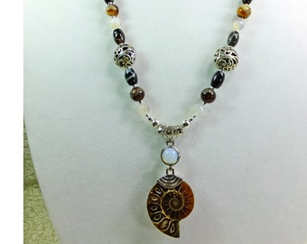 Ancient Ammonite Pendant w/ Sea Opal Glass Accent & Various Agate Beads w/ Silver Plated Filigree Beads Necklace OOAK