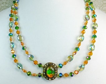 Green/Blue Iridescent AB Crystal Beads and Orange Crystal Beads with Green and Orange Glass Pendant Gorgeous Choker Necklace