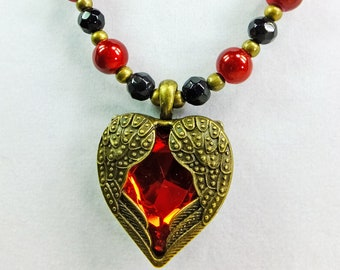 Red Glass Center and Brass Winged Heart Pendant on a Strand of Laquered Red Glass Beads, Black Glass Beads with Brass Spacers OOAK Necklace