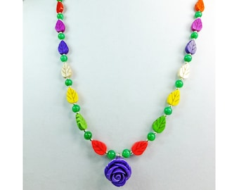 Purple Rose on a Multi Colored Magnesite Stone Leaves with Green Stone Beads Necklace