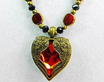 Red Glass Center and Brass Winged Heart Pendant on a Strand of Red Glass Beads, Black Cut Crystal Beads with Brass Spacers OOAK Necklace