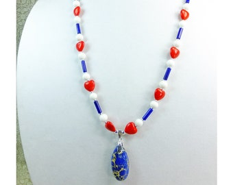 Vote Blue Magnesite Stone Pendant with Red Hearts and White and Blue Beads, Patriotic Necklace
