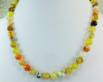 Lovely Natural Agate Beaded Short Necklace Choker