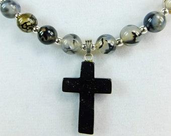 Black Stone Cross Pendant Lovely Natural Chalcedony Agate Beaded Short Necklace Choker