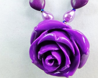 Large Purple Rose on a Deep Purple Mangasite Stone Hearts Lavender Teardrop Glass Pearls and AB Crystal Beads Necklace