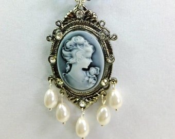 Cameo Pendant with Five White Glass Teardrop Pearls, Blue Cut Crystal Beads, Glass Pearl Beads and Tiny Silver Plated Spacer Beads Necklace