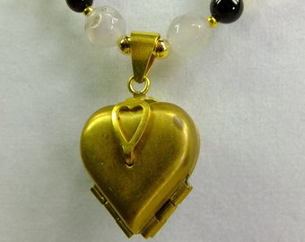 Vintage Inspired Brass Four Photo Locket Pendant on Gray Agate Beads and Black Agate Beads Beaded Necklace