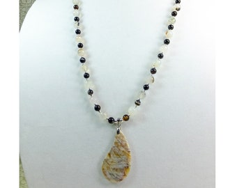 Teardrop Shaped Stone Pendant on White Agate Beads and Brown Agate Beads Beaded Necklace
