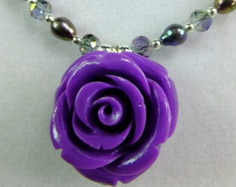 Purple Rose with Small Cultured Pearls with AB Crystal Beads Necklace
