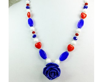 Vote Blue Rose Pendant with Red Hearts and White and Blue Glass Beads, Patriotic Necklace and Beautiful Blue Resin Rose