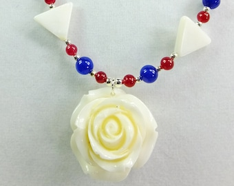 White Rose Resin Pendant with Red Stone Beads and White Shell Triangles and Blue Glass Beads, Patriotic Necklace
