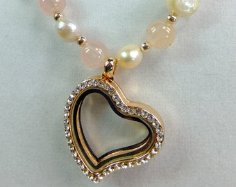 Heart Shaped Rose Gold Colored Rhinestone Magnetic Locket Pendant on Cultured Pink Pearls and Rose Quartz Beads 22 inch length Necklace
