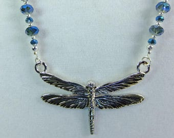 Pewter Dragonfly Pendant with Sparkling Blue Cut Crystal Beads Necklace