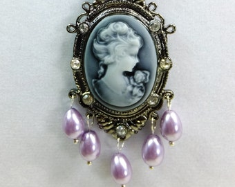 Cameo Pendant with Five Lavender Glass Teardrop Pearls, AB Cut Crystal Beads, Glass Pearl Beads and Tiny Spacer Beads Necklace