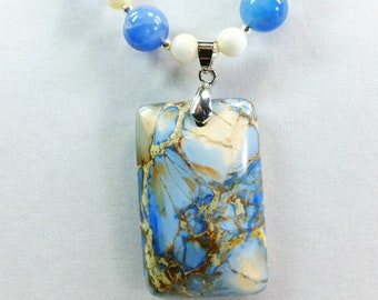 Blue Stone Beads, Calcite Stone Beads andBeautiful Blue Stone Pendant and Silver Plated Beads with Fish Hook Clasp
