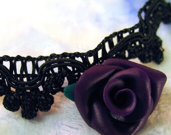 Dark Purple Rose on Black Lace Trim Choker