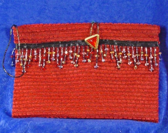 Pretty Dark Red Fabric Pouch Tote or Journal Book Bag with Beaded Fringe and Red Triangle Button