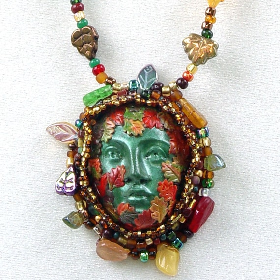Bead Embroidered Polymer Clay Celtic Greenman Necklace with Green Branch and Glass Leaf Fringe Handcrafted