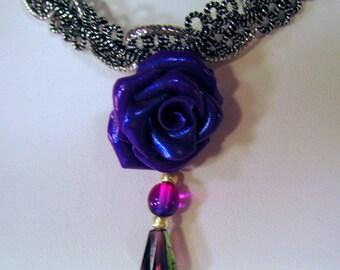 Purple Polymer Clay Rose on a Silver Cord Trim Choker