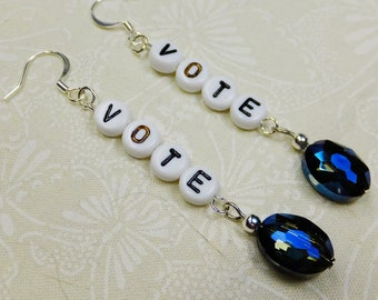 Vote Dangle Earrings Handcrafted with Black and White Acrylic Letter Beads and Faceted Oval Dark Blue Glass Beads