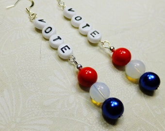 Vote Dangle Earrings Handcrafted with Black and White Acrylic Letter Beads and Red, White & Blue Round Glass Beads