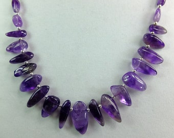 Natural Polished Amethyst Tips and Beads 22 inch long Necklace Deep Purple Violet Lavender OOAK