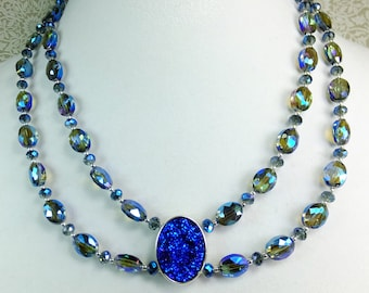 Blue/Green/Violet Iridescent AB Crystal Beads with Heat Treated Blue Violet Druzy Pendant Gorgeous Choker