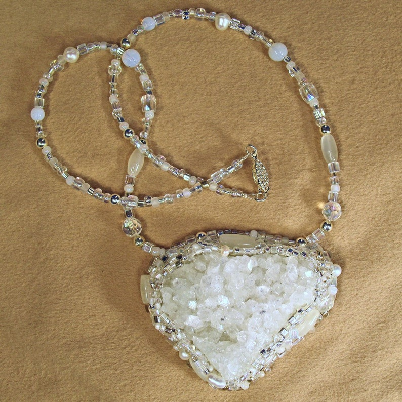 Natural White Quartz Bead Embroidered Necklace Includes Moonstone Beads and Cultured Pearls