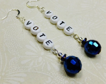 Vote Dangle Earrings Handcrafted with Black and White Acrylic Letter Beads and Faceted Blue Glass Beads