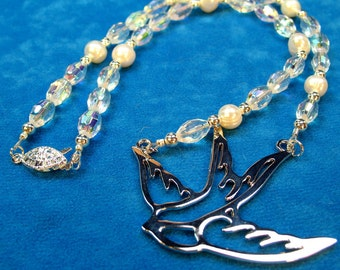 Bird of Peace Pendant Pearls, Crystals, Silver Plated Beads, Security Clasp