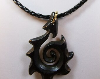 Brown Carved Bone Hei Matau Stylized Maori Fish Hook on Braided Leather Cord Masculine Design Man's 19 inch Choker