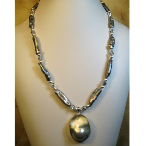 Blister Pearl Pendant Freshwater Cultured Stick Pearls with Crystal Beads Necklace Choker OOAK