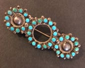 3 CIRCLES TURQUOISE BROOCH 1950s jewelry one of a kind pin Native American Fred Harvey era souvenir Zuni pin Anniversary gift