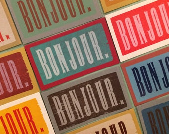 BONJOUR Mini Cards French for HELLO Letterpress with envelopes 20 pack gift tags Cajun Louisiana Canada