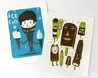 """ICE CREAM art gift, POPSCICLES Dreamsicle Brown Cow Cone 8x10"""" hand printed letterpress print, sweets lover dessert"""