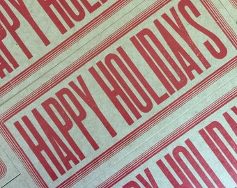 SOLD OUT HAPPY HOlidays letterpress cards, christmas cards, rustic cards, rustic holiday, southern christmas, wood type cards, hand printed