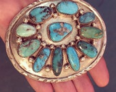 SIGNED Magnificent Turquoise BELT BUCKLE Native American jewelry Nuggets in sterling silver Gifts for men