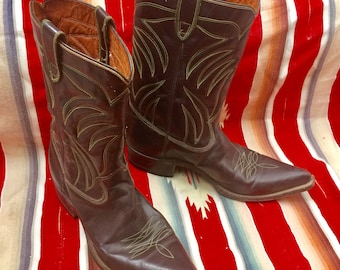 Vintage cowboy BOOTS brown leather, green and yellow boot stitch, western wedding, southwestern gift rodeo, classic country rock n roll
