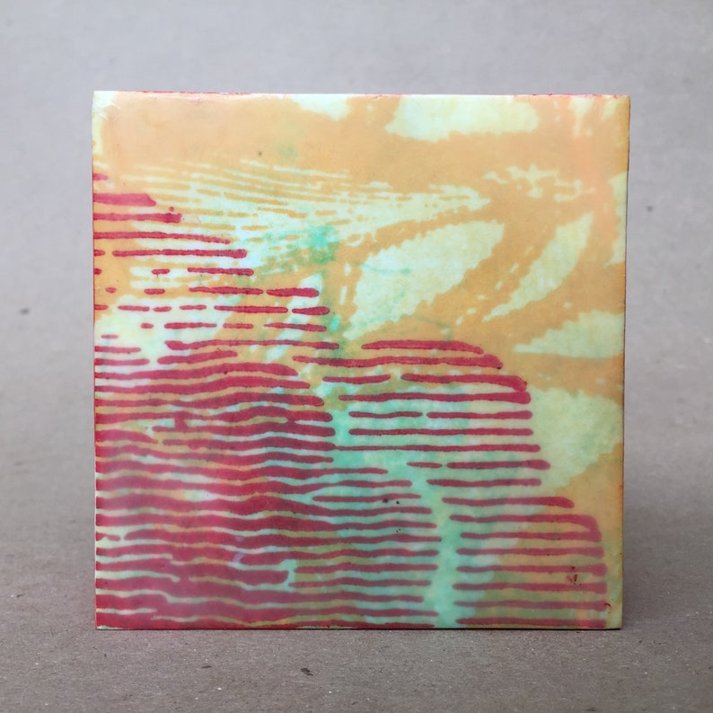 small gift ENCAUSTIC PAINTING 4\u201dx4\u201d mixed media on wood with beeswax and oil paint by Julie Belcher Abstract landscape bright colors