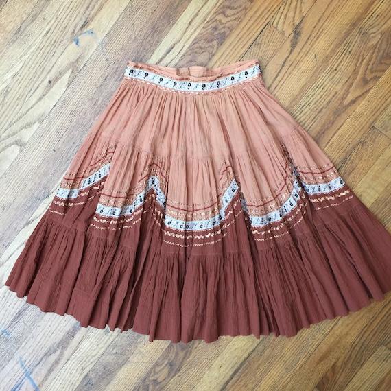 Vintage CREPE fiesta skirt, patio skirt, ricrac tr