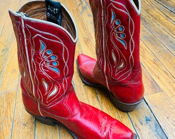 ACME COWGIRL BOOTS in red leather, white and turquoise flowers, unique colors, vintage cowboy, western wear, wedding, two stepping, classics