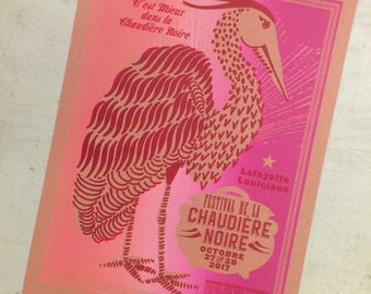 PINK CAJUN POSTER Blue Heron Black Pot Cookoff 2017/Louisiana Gifts/Cajun French Poster/Southern Art/Kitchen Art/Restaurant Decor/Gift