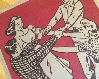 SQUARE DANCE Poster, Hands Across RED Hand Printed Letterpress, gift for dancers, old time music fans, nostalgic gifts, southern art