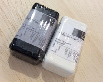 ENCAUSTIC SUPPLIES, WAX Painting, 2 pack black and white, R&F brand, encaustic art, beeswax paint, mixed media, on sale, beeswax art, wax