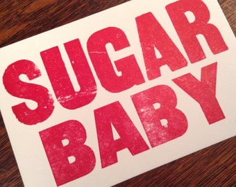 SUGAR BABY Banjo gifts, 6 hand printed letterpress mini prints post cards banjo tune old time music sign invitation typography cards red ink