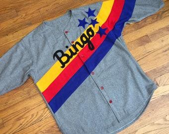 BINGO BASEBALL JERSEY Wool Flannel Vintage Retro Style Sportswear Shirt Barnstorming Bingo Long movie