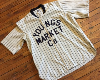 BASEBALL JERSEY, XL Youngs Market Ebbets Field Flannels, Wool Vintage retro style athletic sportswear, custom made, wines liquor spirits